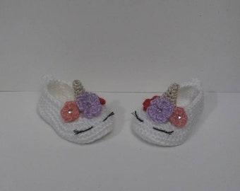 Unicorn baby shoes, unicorn baby booties, unicorn shoes, crochet baby booties, slippers, ballerina shoes, baby girl shoes, unicorn theme