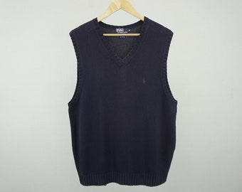 Polo Ralph Lauren Sweater Vest Vintage Polo Ralph Lauren V-Neck Pullover Women's Size LL