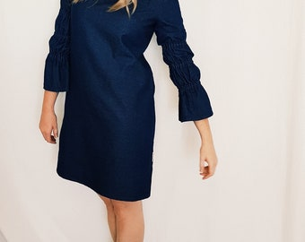 Women's Shift Dress with 3/4 Elastic Gathered Sleeves in Linen