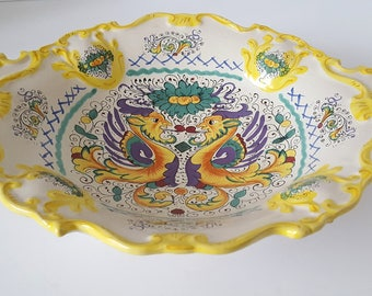 Italian Deruta Rafaellesco serving dish Deruta dragons hand-painted Italian ceramic large seving dish Italian tableware. & Ceramic tableware | Etsy