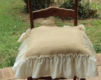Captivating Rustic Burlap Kitchen  Dinning Room   Dressing Table Chair Seat Cover   6  Inch Antique