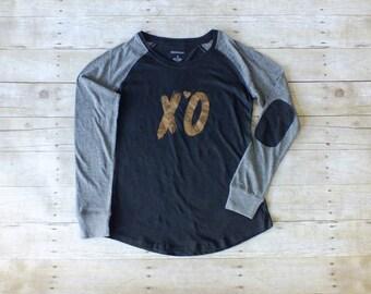 XO Shirt, Valentines Day Shirt, Long Sleeve Elbow Patch Shirt, Foil Shirt