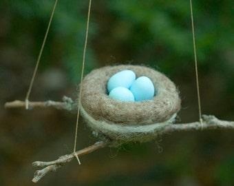 Needle Felted Robin's Nest Ornament