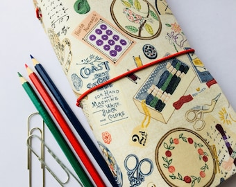 Fabric Travellers Notebook Cover Complete with Notebooks. Fauxdori. Journal. Sewing accessories print