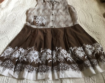 Upcycled Recycled Repurposed Brown & White Tunic/Dress Linen Rayon Cotton Size M