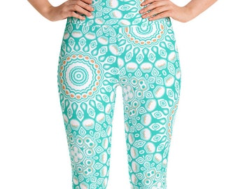 Turquoise Leggings High Waist Yoga Pants, Women's Printed Leggings, Aqua Mandala Leggings