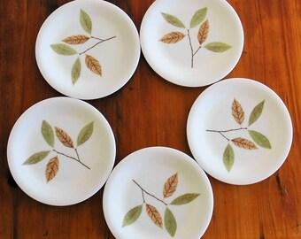 5 Bessemer side plates / vintage melmac / made in Australia / leaf pattern