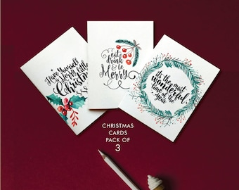 Printable Christmas Cards,Christmas cards pack,Christmas cards,Instant Download,be merry,wonderful time of the year,Merry little Christmas