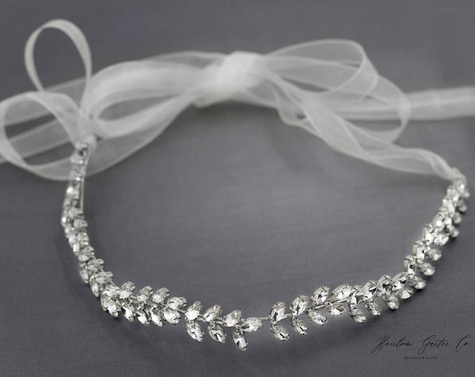 Boho Wedding Hairpiece, Leaf  headband, Silver Wedding Headband, Bridal Headpiece, Rhinestone Headband H01