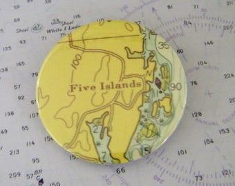 Vintage Chart Pin - Badge -Five Islands - Georgetown - Maine