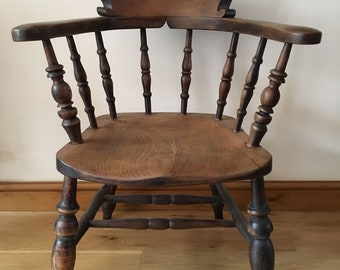 Antique Ash and Elm Smokers Bow Chair or Captains Chair - Circa 1870 | Ideal Library Chair or Desk Chair