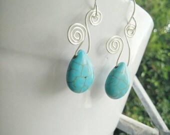 Turquoise Earrings - Turquoise Jewellery - Turquose Silver Earrings - Turquoise Dangle Drop Earrings -Silver earrings- Blue Gemstone Earring