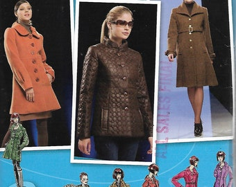 Uncut Sewing Pattern - New Look 2812 - Simplicity Project Runway - Misses LINED COAT & JACKET - in Two Lengths with Collar Variations