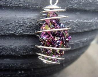 Crystal Necklace - Titanium Druzy Necklace - Titanium Crystal Necklace - Aura Crystal Necklace - Boho Necklace - Rainbow Crystal Necklace