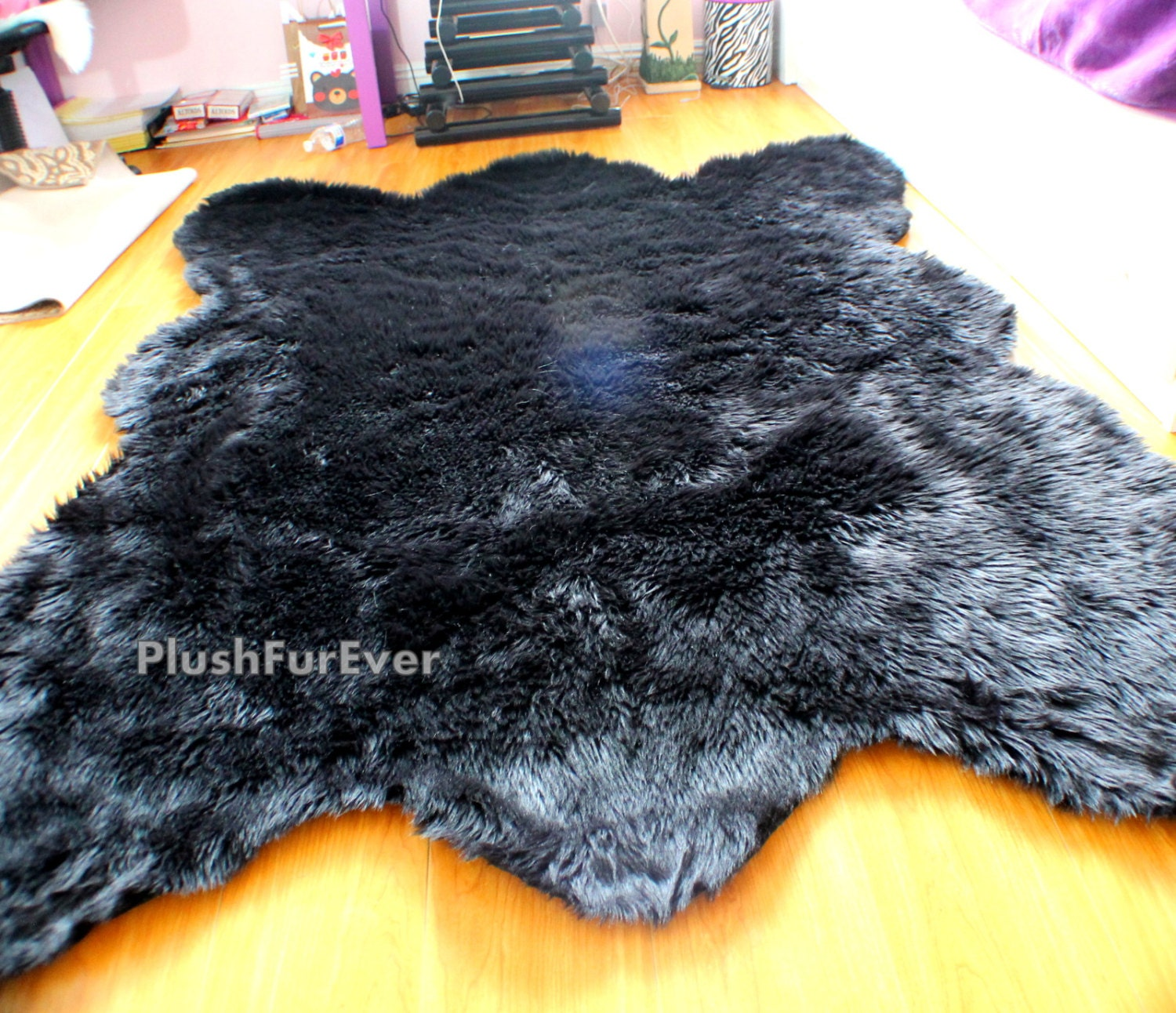 rug skin closed bear rugs black