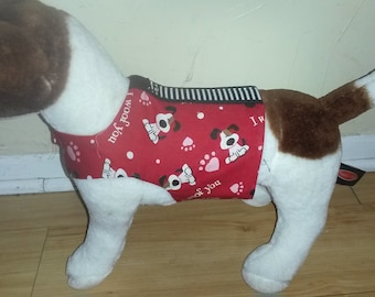 I Woof You cotton print  small dog harness pet accessories, dog clothing, dog apparel, pet clothing