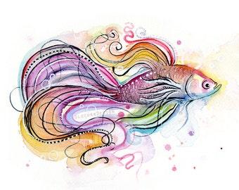 Betta Fish Watercolor Painting Art Print Giclee Animal Wall Art Home Decor Tropical