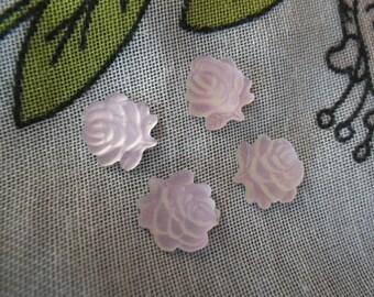 Matte Palest Pink Glass Rose Cabochons 9mm 4 Pcs