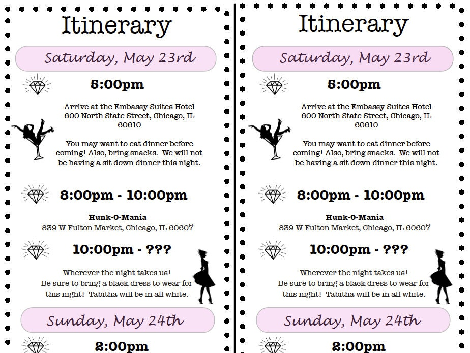 Bachelorette Party Itinerary - Party invitation template: bachelorette party itinerary template