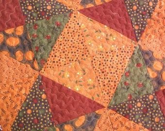Fall triangles quilted table topper handmade topper