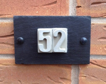 Modern Slate Concrete House Number, 150x95mm, House Number Sign, House Plaque