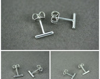 Bar stud earrings, Silver bar stud earrings, Round bar stud earrings, Sterling silver bar earrings, Staple stud earring, Delicate tiny studs
