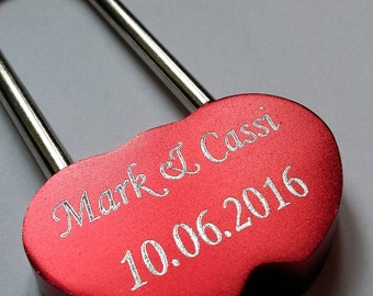 Engraved Red LoveLock/ Love Lock Personalised Padlock (48mm)