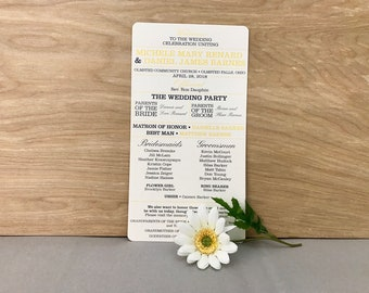 Rustic Modern Yellow and Gray Flat 5x8 Wedding Ceremony Program (2-sided)