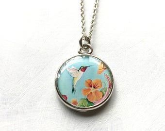 Hummingbird Jewelry, Handmade from Original Painting, Mothers Necklace, Mothers Jewelry, Gift for Mom, Hummingbird Art