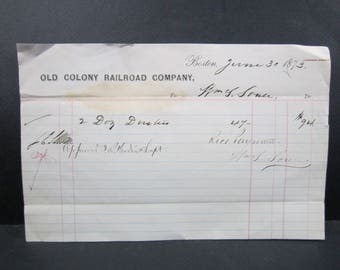 Old Colony Railroad Company 1873 payment slip