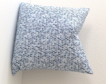 Amar blue and navy small floral block print decorative throw pillow cover