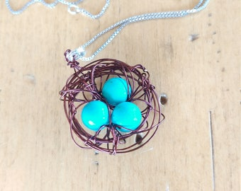 Nesting Pendant-- Chocolate and Teal