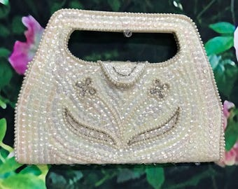 50s White Flat Bags by Debbie Pearl Iridescent Sequin Handbag Bridal