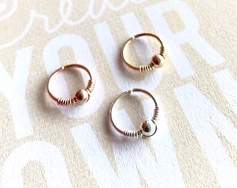 Small gold hoop earring, 8mm rose gold nose ring hoop, 20g helix earring 10mm sterling silver cartilage jewelry Seamless beaded Gift for her