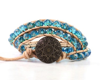 Teal Blue Leather Wrap Bracelet Tan Suede Rustic Hippie Bohemian Bracelet Triple Wrap Boho Jewelry Fall Wrap Bracelet
