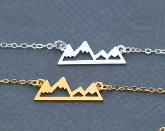 Mountain Necklace Gift • Hiker Gold Mountain Jewelry • Silver Mountain Outline • Mountain Range Wanderlust Gift •Mountain Hiker Gift Outdoor