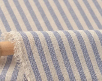 Blue and White Striped Fabric Half Yard Z035