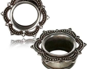 Mandala gauge earrings, ear stretchers, brass plug earrings, silver metal tunnels, 12mm 10mm 8mm 0G 00G 1/2 tribal gyspy body jewelry PL16