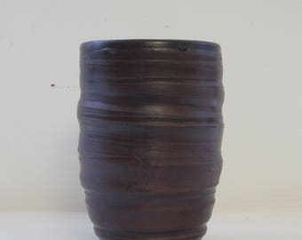 Handmade Wheel Thrown Brown Cup
