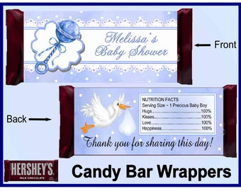 Blue BABY RATTLE Baby Shower Favors printable Candy Bar Wrappers ~ Instant Download ~ D.I.Y.