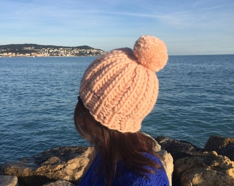 Chunky Knit Wool Hat, Wool Hat, Hand Knitted Hat, Salmon