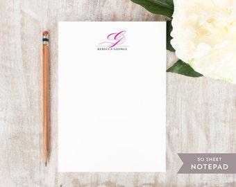 Personalized Notepad - ELEGANT MONOGRAM  - Stationery / Stationary Notepad