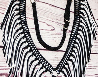 Fringe breast collar, horse tack, paracord horse tack,  black and white horse tack, paracord fringe breast collar, breast collar