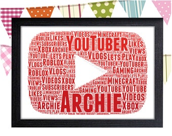 Personalized Gift Youtube Gift Youtuber Gift Youtube Play Button Wall Art Wall Prints Wall Art Wall Decor Personalised Gift Wall Art Prints