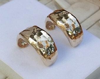 Gold Hoop Earrings ,14K Gold Hoop Earrings , Handmade Hoop Earrings, Women Hoops, Hammered Hoop Earrings, Wedding Gold Hoops , Mother's Day