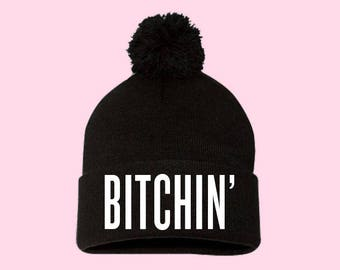 Bitchin' | Beanie Pom Pom Hat -  Black, Navy, Red, Grey, Pink, Neon, Green Stranger Things