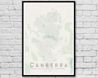 Canberra Map Print | Apartment Wall Art | Travel Nursery Print | Gift for Couple | Housewarming Gift | ACT Wall decor | A3 A2