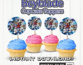 Beyblade Cupcake Toppers, Beyblade Party, Beyblade Birthday,Beyblade printable, Cupcake Toppers, Takao kinomiya, Rei Kon, Beyblade, DIGITAL