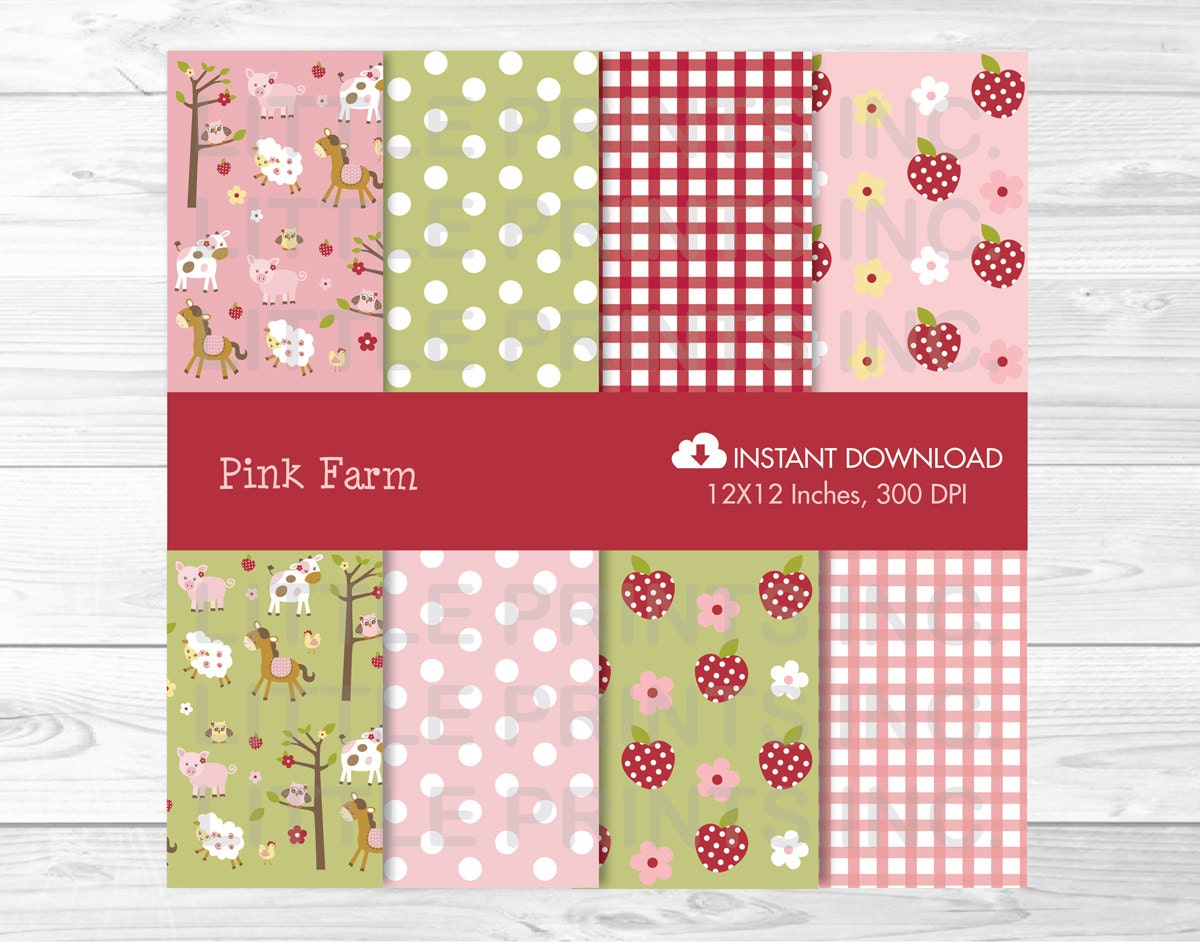 Pink Farm Animal Digital Paper / Farm Animal Backgrounds / Farm ...