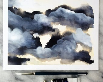 Moody SKY CLOUDS 1 // WATERCOLOR Art Print from Original Painting Gouache Watercolour Payne's Gray The Mint Gardener